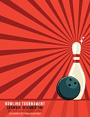 Retro Style Bowling Tournament Event Template. It has a red background with darker red starburst. There is one faded bowling pin with a ball in front of it. There is a border near the bottom with room for text.