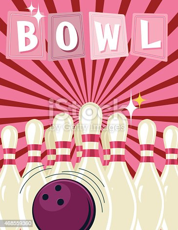 Retro Style Bowling Tournament Poster Template
