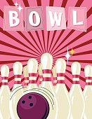 Retro Style Bowling Event Template. It has a pink background with darker pink starburst. The ten pins are set up with a ball in front of them. The word BOWL is across the top on retro sign shapes.