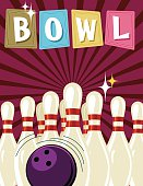 Retro Style Bowling Event Template. It has a purple background with darker purple starburst. The ten pins are set up with a ball in front of them. The word BOWL is across the top on retro sign shapes.