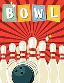 Retro Style Bowling Event Template. It has a red background with darker red starburst. The ten pins are set up with a ball in front of them. The word BOWL is across the top on retro sign shapes.
