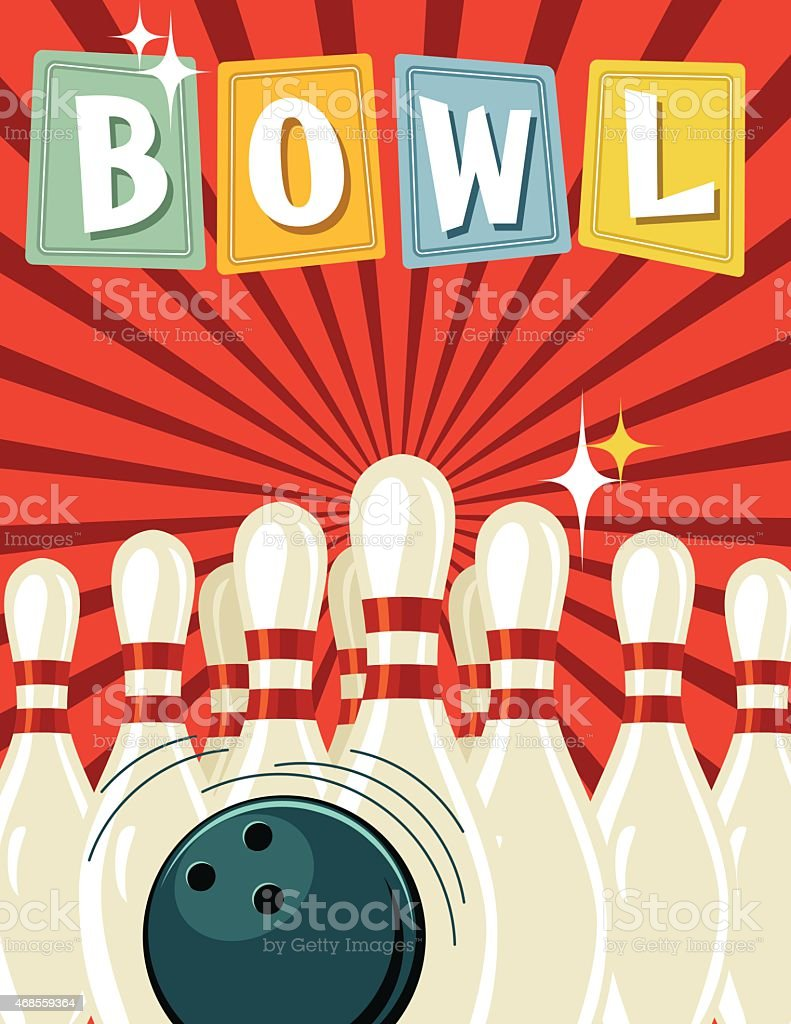 Retro Style Bowling Tournament Poster Template vector art illustration