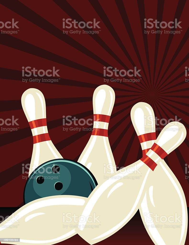 retro style bowling tournament poster template stock vector art