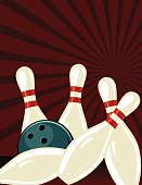 Retro Style Bowling Poster. It has a dark red background with a starburst. The five pins are balling as the ball crashes through them.