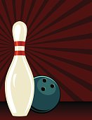 Retro Style Bowling Poster. It has a dark red background with a starburst. There is one pin and a ball behind it. Lots of room for text.
