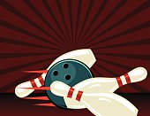 Retro Style Bowling Poster. It has a dark red background with a starburst. The ball has knocked down three pins.