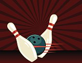 Retro Style Bowling Poster. It has a dark red background with a starburst. Two pins are being knocked down by the ball. There are speed lines.