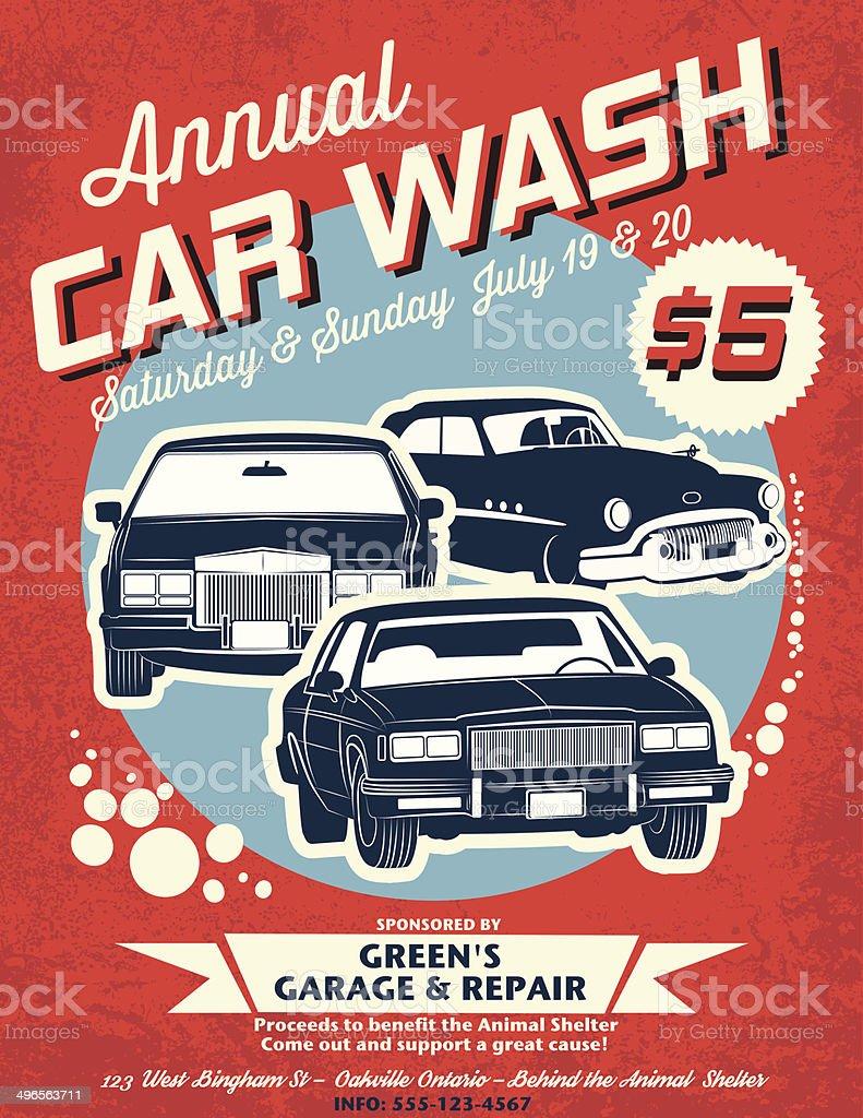 Retro Style Car Wash Ad vector art illustration