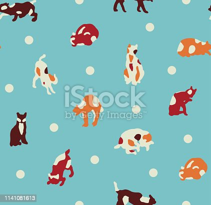 Seamless pattern ready to use, with light blue background. Hand drawn background kittens for fashion, textile, wrapping paper and wallpaper