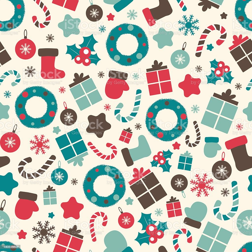 Retro Style Christmas Patterns Winter Background Endless