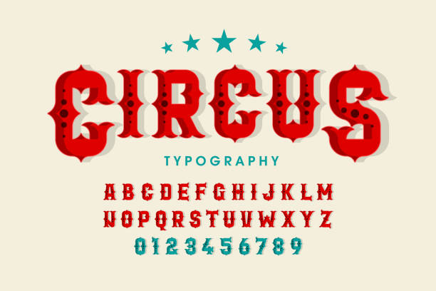 retro tarzı sirk yazı - circus stock illustrations