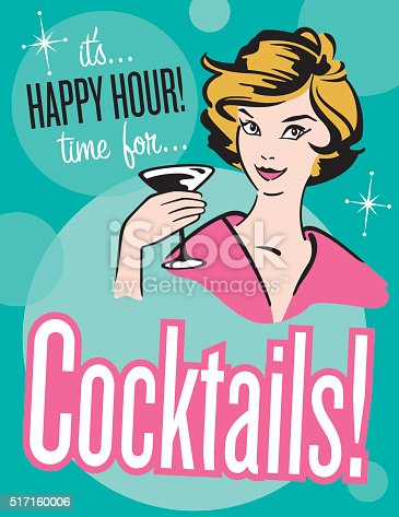 Retro style Cocktails poster or invitation