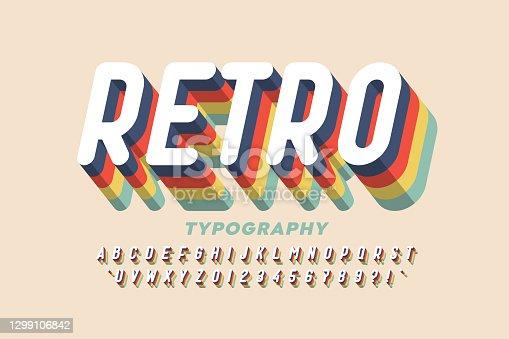 istock Retro style colorful font 1299106842