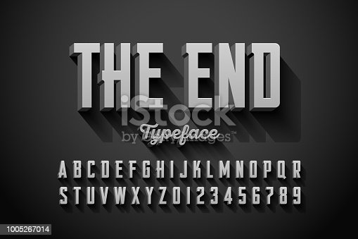 Retro style condensed font, The End title vector illustration