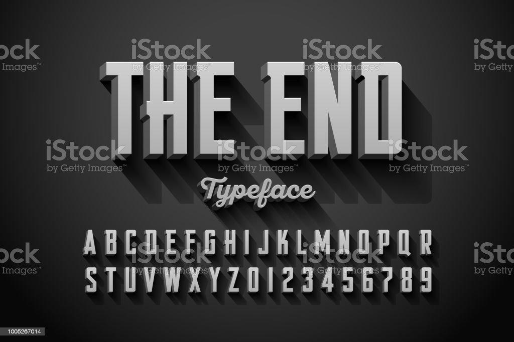 Retro style condensed font vector art illustration