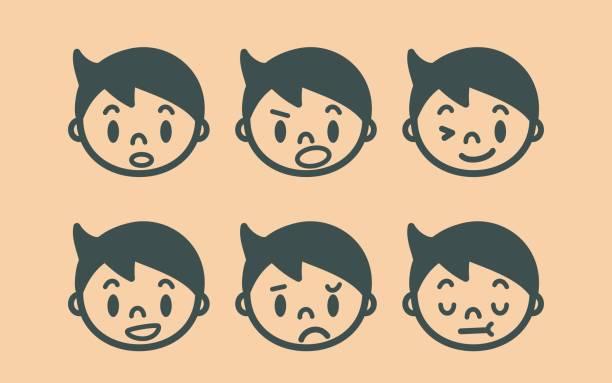 レトロなスタイルのかわいい男の子の顔概要絵文字 - 漫画の子供たち点のイラスト素材/クリップアート素材/マンガ素材/アイコン素材