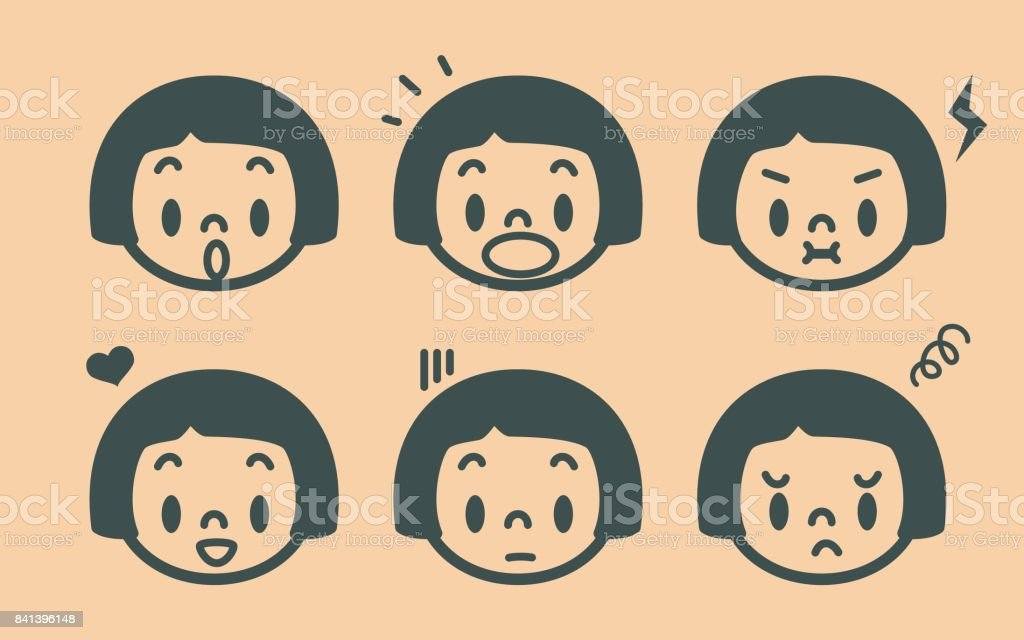 Retro style cute girl emoticons, face outline vector art illustration