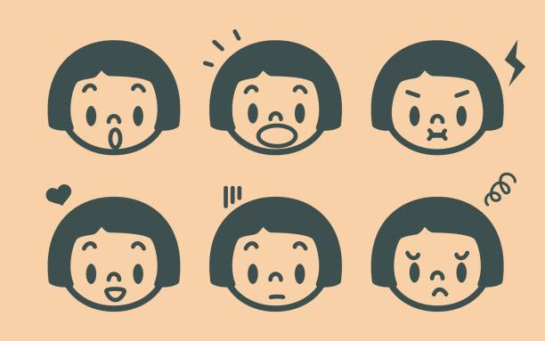 retro style cute girl emoticons, face outline - anime girl stock illustrations