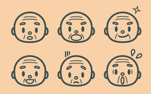 retro style cute senior man (grandfather, monk), face outline emoticons - old man crying stock illustrations, clip art, cartoons, & icons