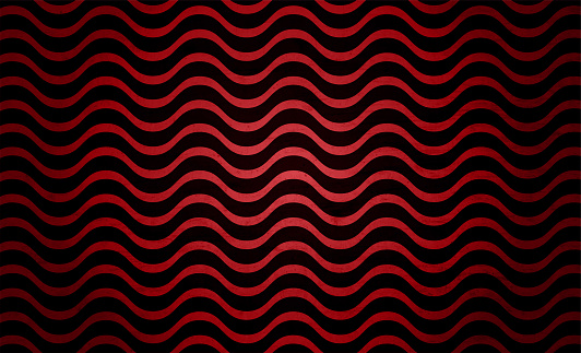 Retro style drapes design in dark red or maroon and black colour; grunge textured wavy striped pattern vector stereoscopic backgrounds with waves of curvy lines all over