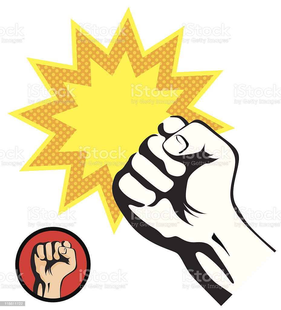 Retro style fist punch on a white background royalty-free stock vector art