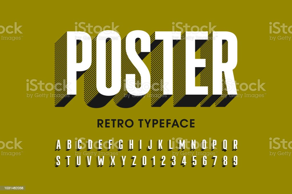 Retro style font design royalty-free retro style font design stock illustration - download image now