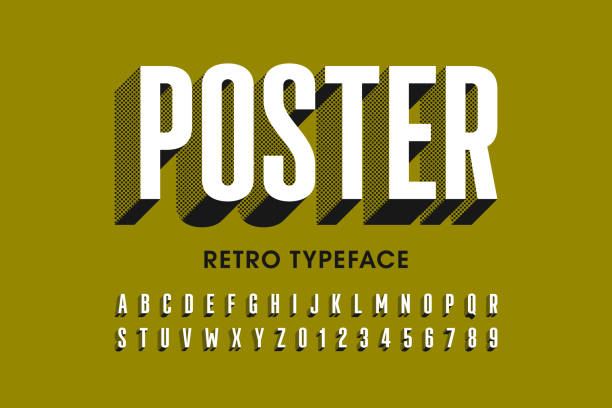 Retro style font design Retro style font design, alphabet letters and numbers vector illustration alphabet patterns stock illustrations