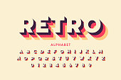 Retro style font design, alphabet letters and numbers vector illustration