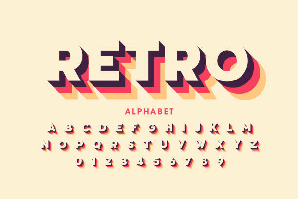 retro style font design - alphabet patterns stock illustrations