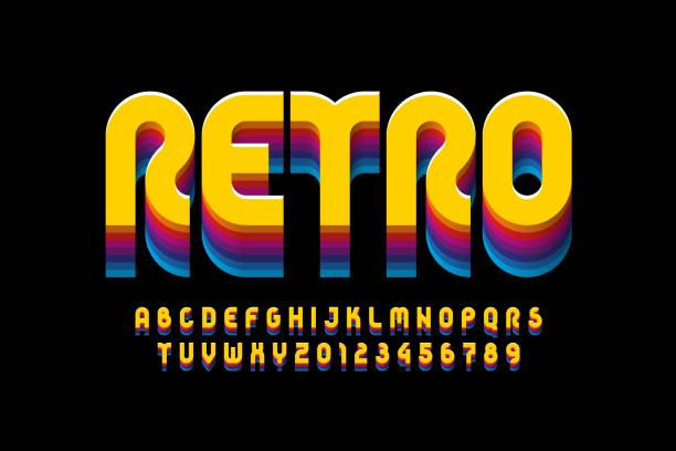 stockillustraties, clipart, cartoons en iconen met retro stijl lettertype ontwerp - seventies