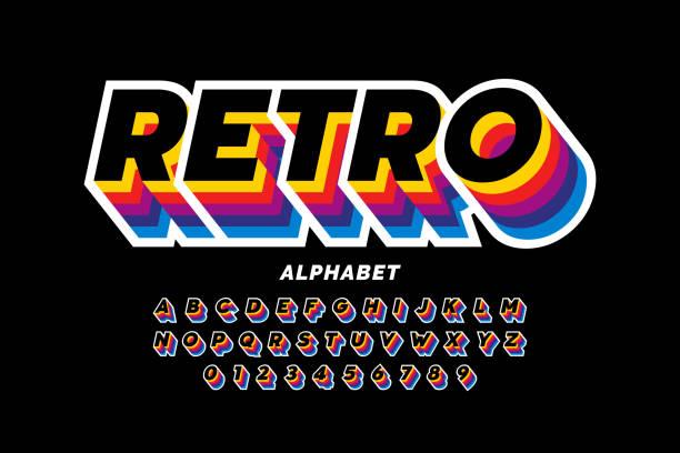 Retro style font vector art illustration