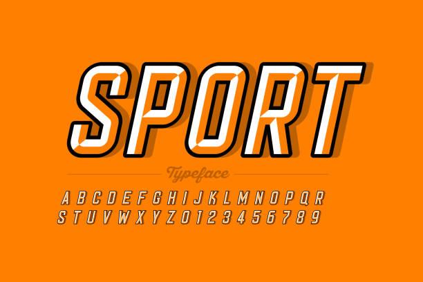 schrift im retro-stil - sport stock-grafiken, -clipart, -cartoons und -symbole
