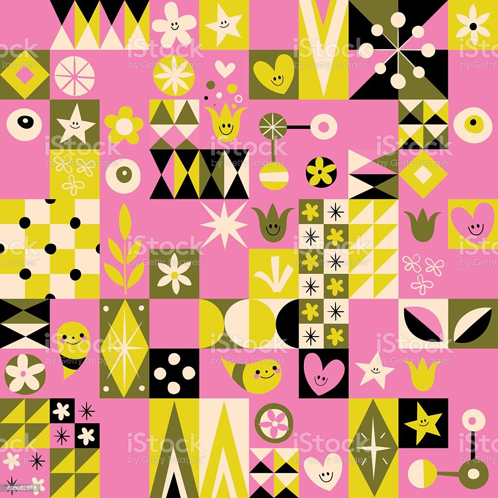 Retro style fun pattern with simple symbol characters royalty-free retro style fun pattern with simple symbol characters stock vector art & more images of 1950-1959