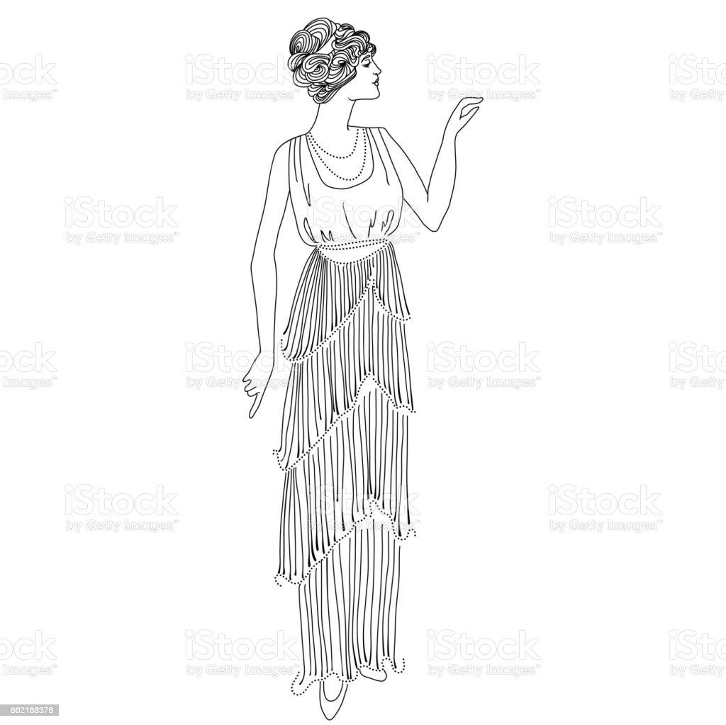Coloriage Adulte Vintage.Fille De Style Retro Carte Vintage Illustration Vectorielle De Noir