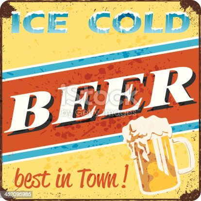 retro style ice cold beer sign