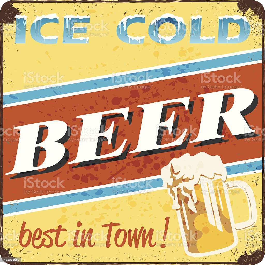 retro style ice cold beer sign vector art illustration