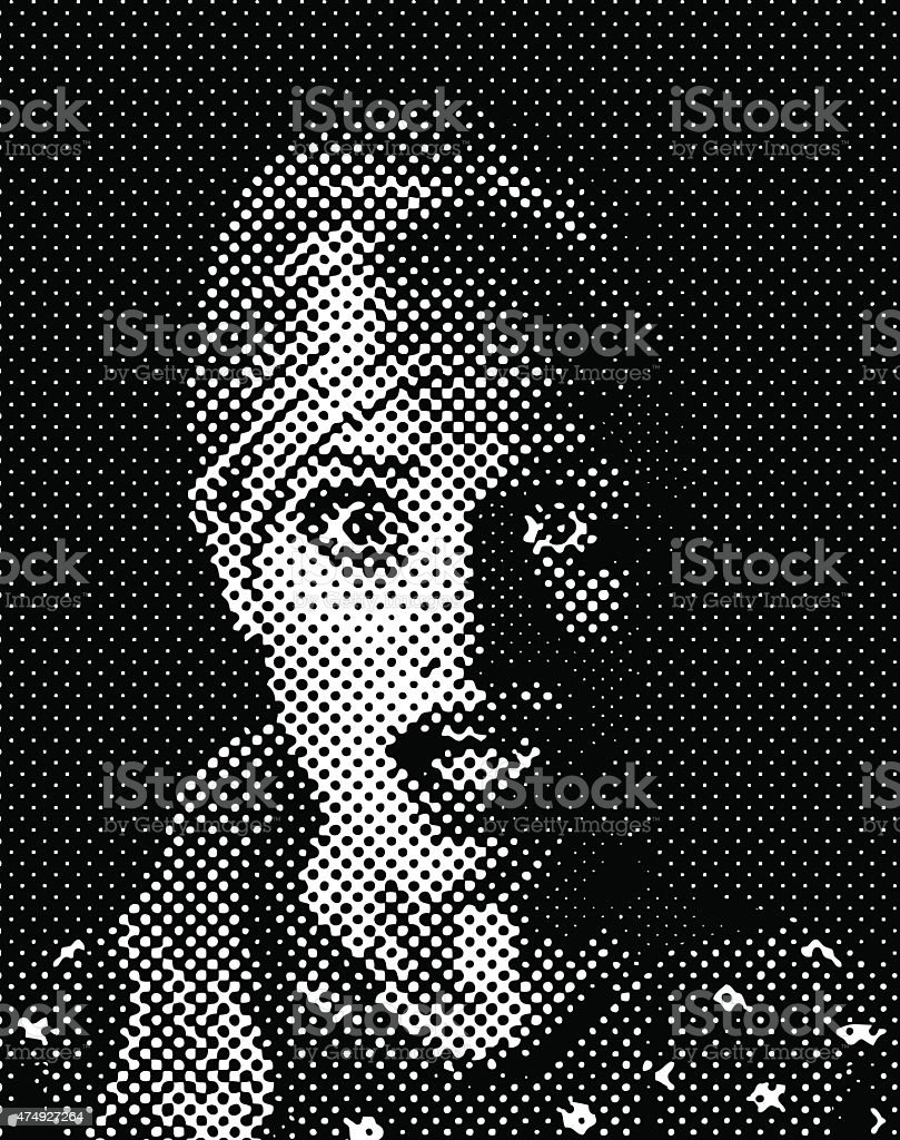 Retro Style comic book illustration of a terrified woman. Halftone...