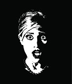 Retro Style illustration of a terrified woman. Silhouette