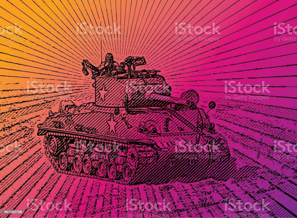 Retro Style Illustration Of A World War Ii Armored Tank In Combat