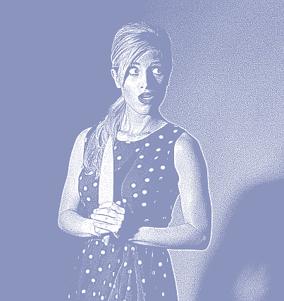 Retro style illustration of frightened woman with knife