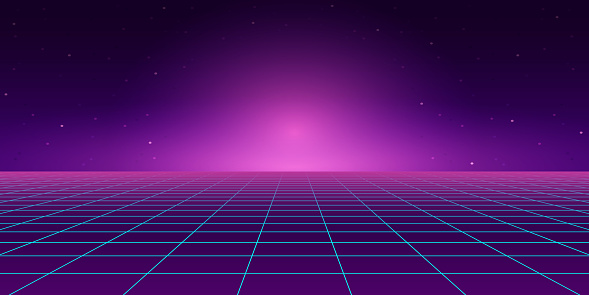 Retro Style landscape with blue grid background