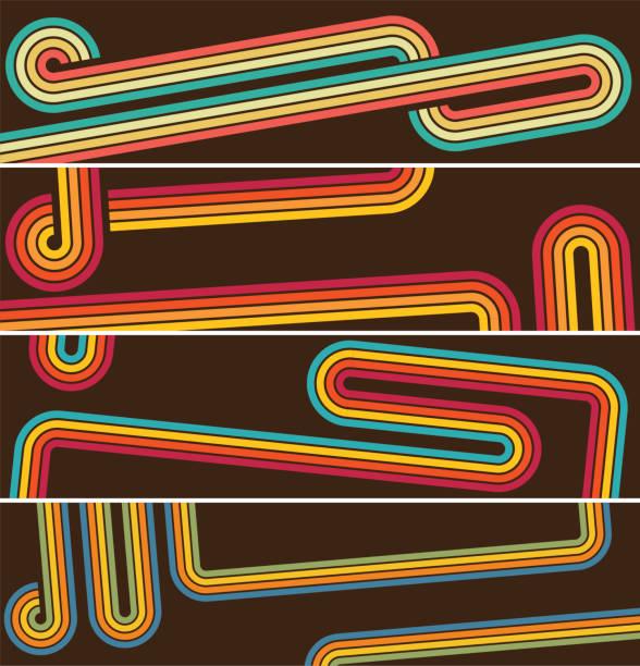 Retro style line banners vector art illustration