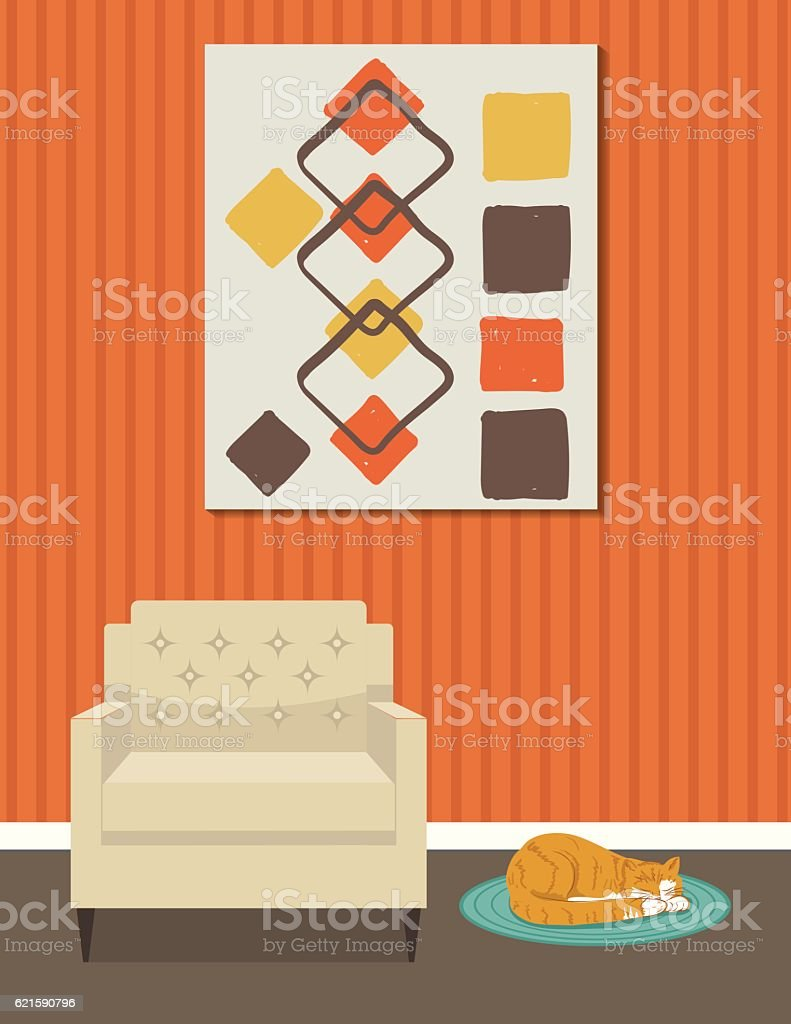 Retro Style Living Room With Chair and Art vector art illustration