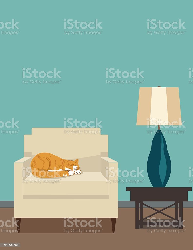 Retro Style Living Room With Chair and Lamp vector art illustration
