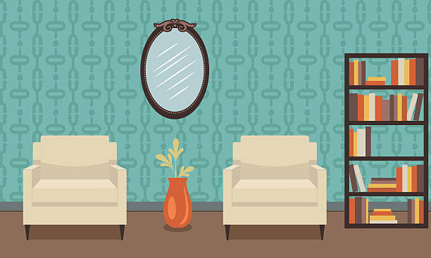 retro style living room with furniture - tapete stock-grafiken, -clipart, -cartoons und -symbole
