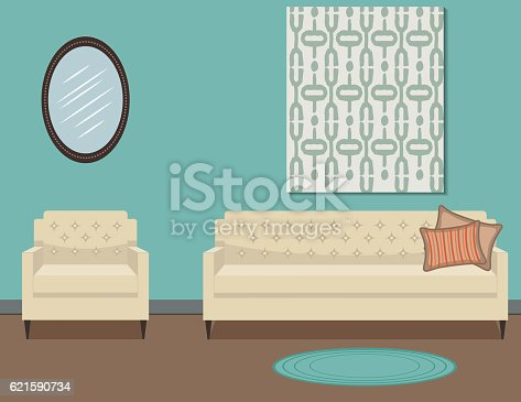 Retro Style Living Room With Furniture