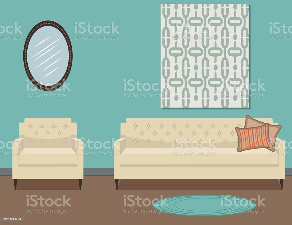 Retro Style Living Room With Furniture vector art illustration
