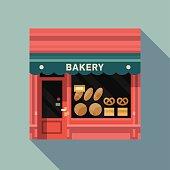 Retro style local bakery pink facade