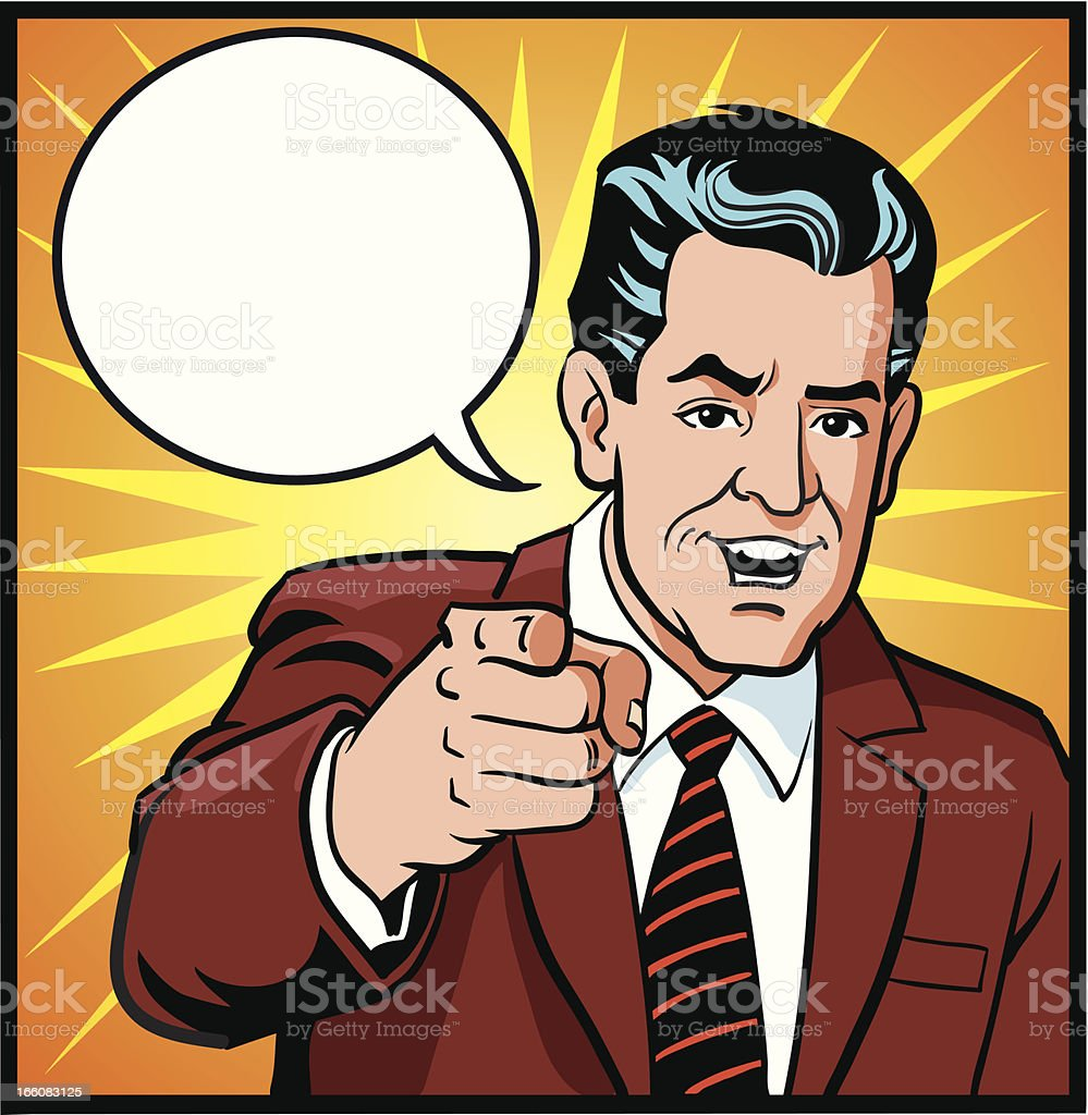 Retro Style Man Pointing at You royalty-free stock vector art