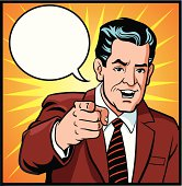Illustration of a old fashion style businessman pointing his index finger at the viewer. The man, speech bubble and the backgrounds are placed on separate layers for easy editing. High resolution JPG and Illustrator 0.8 EPS included.